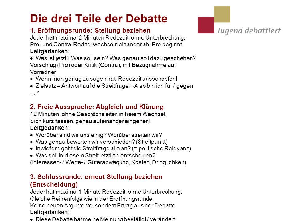 Die drei Teile der Debatte 1. Eröffnungsrunde: Stellung beziehen Jeder hat maximal 2 Minuten Redezeit, ohne Unterbrechung. Pro- und Contra-Redner wech