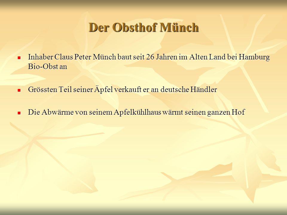 Der Obsthof Münch Inhaber Claus Peter Münch baut seit 26 Jahren im Alten Land bei Hamburg Bio-Obst an Inhaber Claus Peter Münch baut seit 26 Jahren im