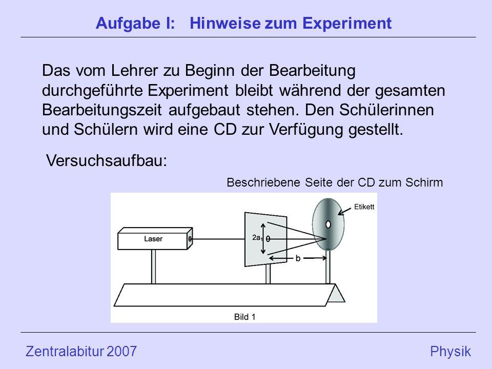 Zentralabitur 2007 Physik Das vom Lehrer zu Beginn der Bearbeitung durchgeführte Experiment bleibt während der gesamten Bearbeitungszeit aufgebaut stehen.