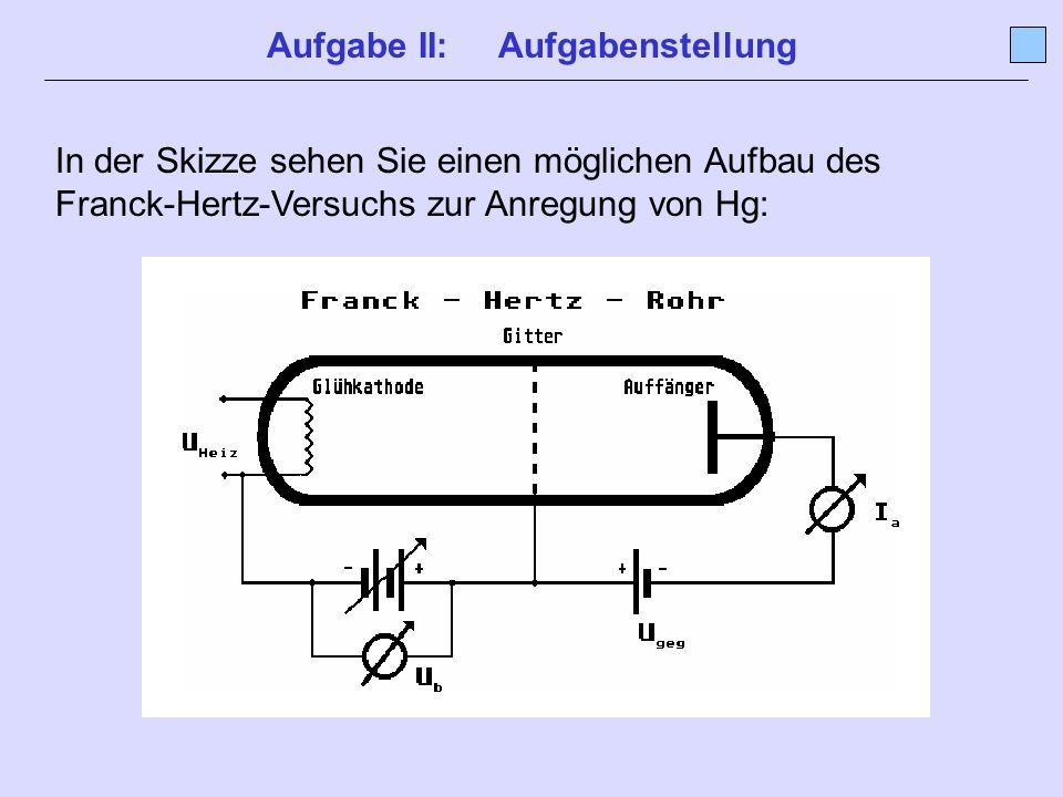 Aufgabe II: Aufgabenstellung In der Skizze sehen Sie einen möglichen Aufbau des Franck-Hertz-Versuchs zur Anregung von Hg: