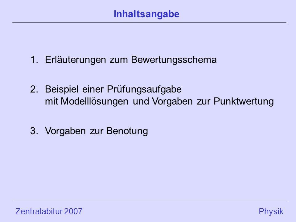 Zentralabitur 2007 Physik 1.Erläuterungen zum Bewertungsschema 2.Beispiel einer Prüfungsaufgabe mit Modelllösungen und Vorgaben zur Punktwertung 3.Vorgaben zur Benotung Inhaltsangabe