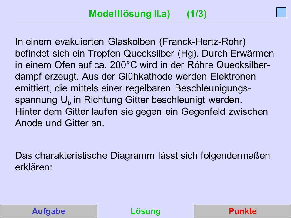 Modelllösung II.a) (1/3) In einem evakuierten Glaskolben (Franck-Hertz-Rohr) befindet sich ein Tropfen Quecksilber (Hg).