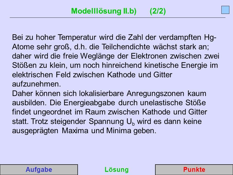 Modelllösung II.b) (2/2) Bei zu hoher Temperatur wird die Zahl der verdampften Hg- Atome sehr groß, d.h.
