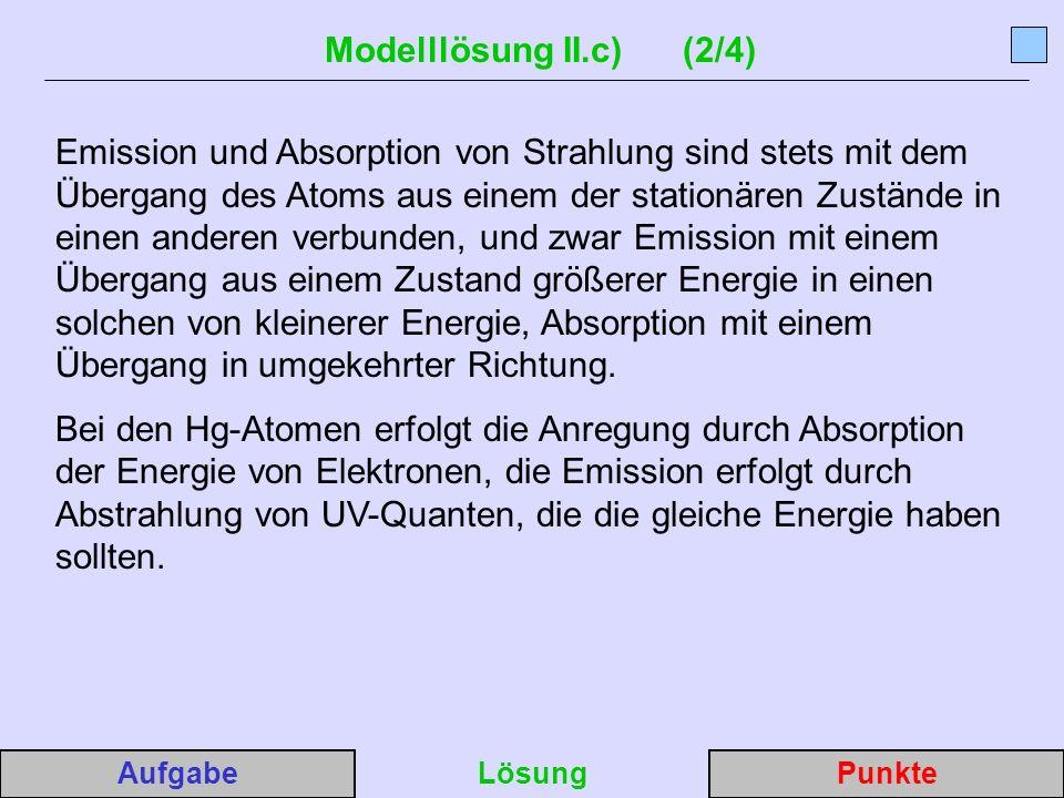Modelllösung II.c) (2/4) Emission und Absorption von Strahlung sind stets mit dem Übergang des Atoms aus einem der stationären Zustände in einen anderen verbunden, und zwar Emission mit einem Übergang aus einem Zustand größerer Energie in einen solchen von kleinerer Energie, Absorption mit einem Übergang in umgekehrter Richtung.