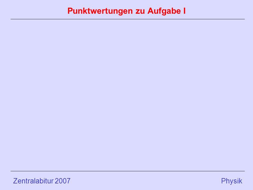 Zentralabitur 2007 Physik Punktwertungen zu Aufgabe I