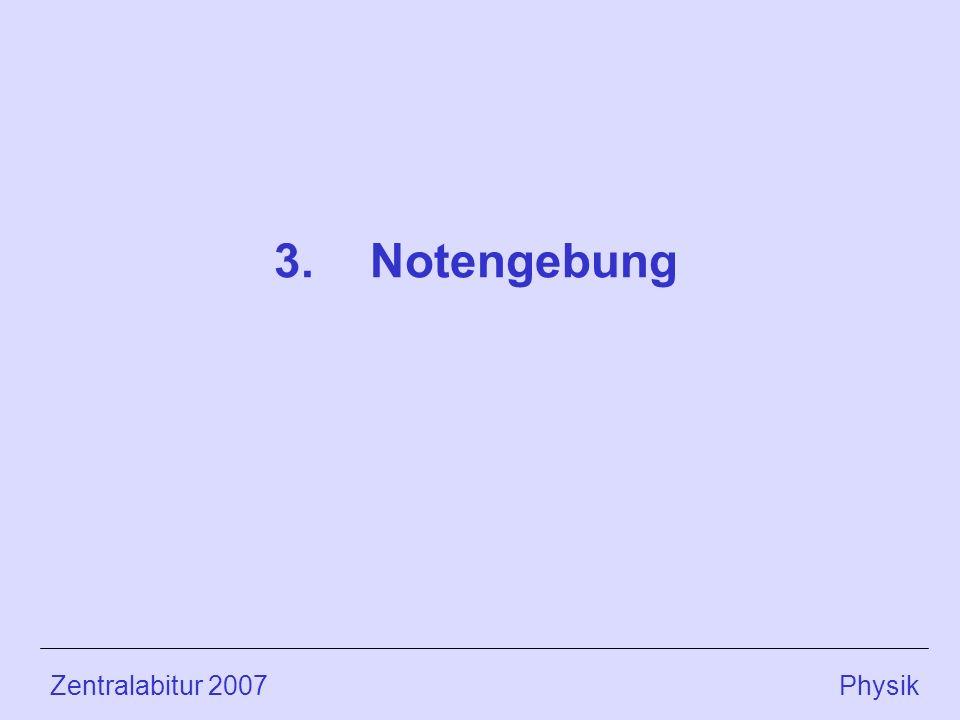 Zentralabitur 2007 Physik 3.Notengebung