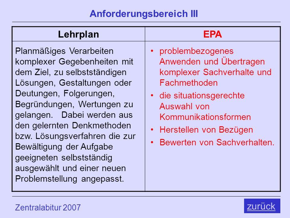 Zentralabitur 2007 Physik Anforderungsbereich III LehrplanEPA zurück Planmäßiges Verarbeiten komplexer Gegebenheiten mit dem Ziel, zu selbstständigen Lösungen, Gestaltungen oder Deutungen, Folgerungen, Begründungen, Wertungen zu gelangen.