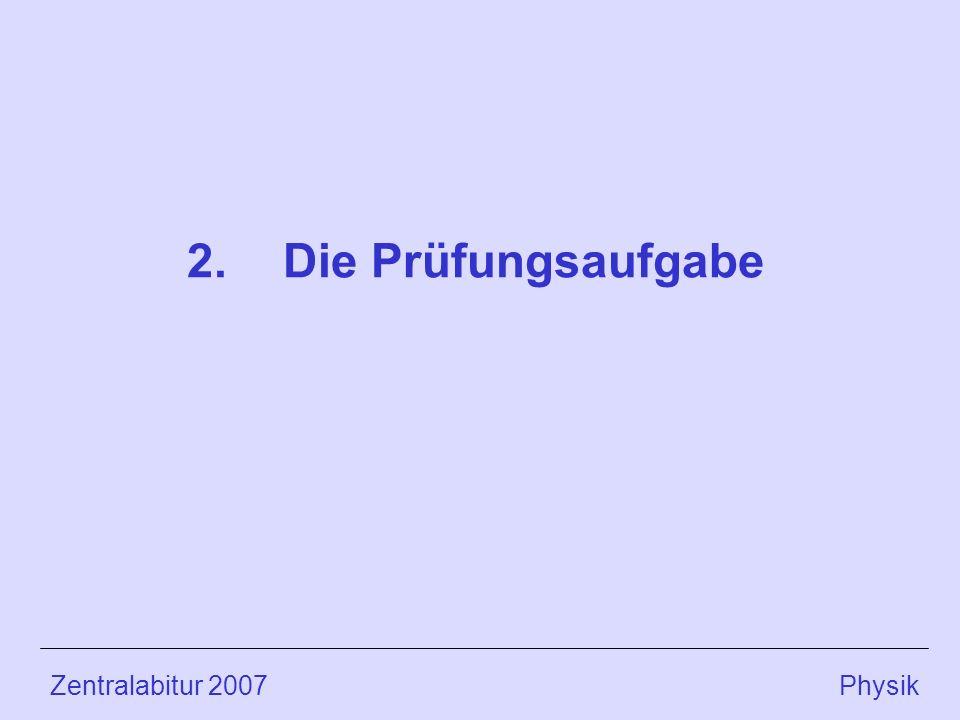 Zentralabitur 2007 Physik 2.Die Prüfungsaufgabe