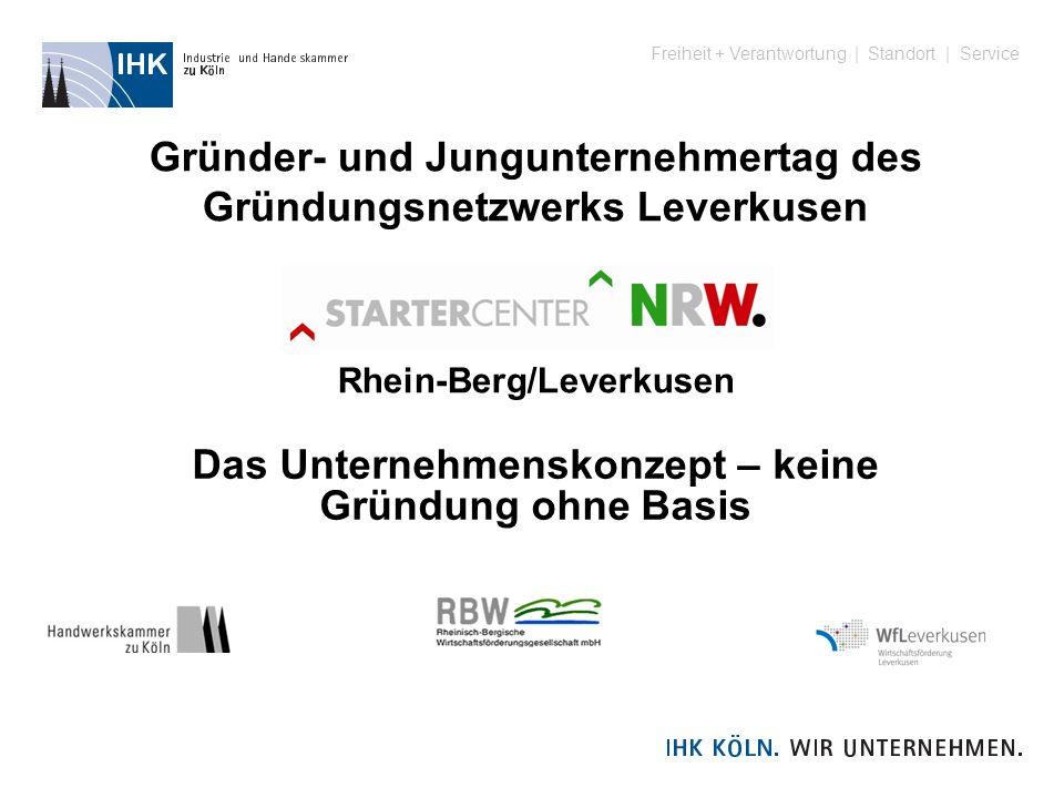 Freiheit + Verantwortung | Standort | Service Gründer- und Jungunternehmertag des Gründungsnetzwerks Leverkusen Rhein-Berg/Leverkusen Das Unternehmens