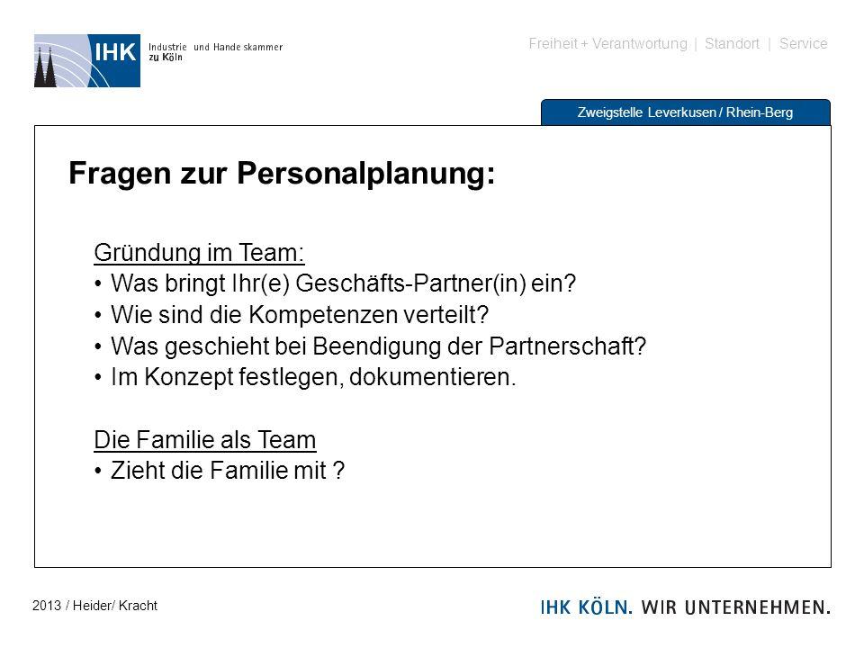 Freiheit + Verantwortung | Standort | Service Zweigstelle Leverkusen / Rhein-Berg Fragen zur Personalplanung: Gründung im Team: Was bringt Ihr(e) Gesc