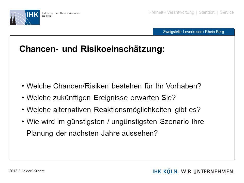 Freiheit + Verantwortung | Standort | Service Zweigstelle Leverkusen / Rhein-Berg Chancen- und Risikoeinschätzung: Welche Chancen/Risiken bestehen für