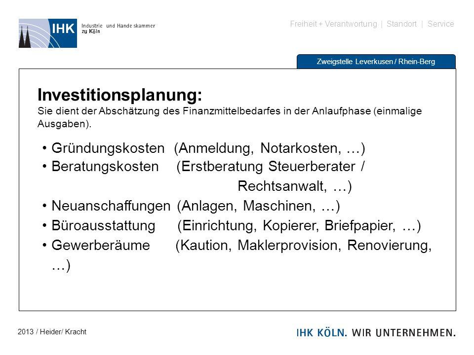 Freiheit + Verantwortung | Standort | Service Zweigstelle Leverkusen / Rhein-Berg Investitionsplanung: Sie dient der Abschätzung des Finanzmittelbedar