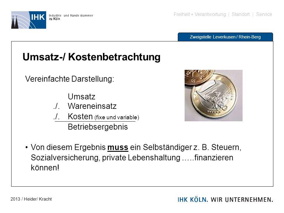 Freiheit + Verantwortung | Standort | Service Zweigstelle Leverkusen / Rhein-Berg Umsatz-/ Kostenbetrachtung Vereinfachte Darstellung: Umsatz./. Waren