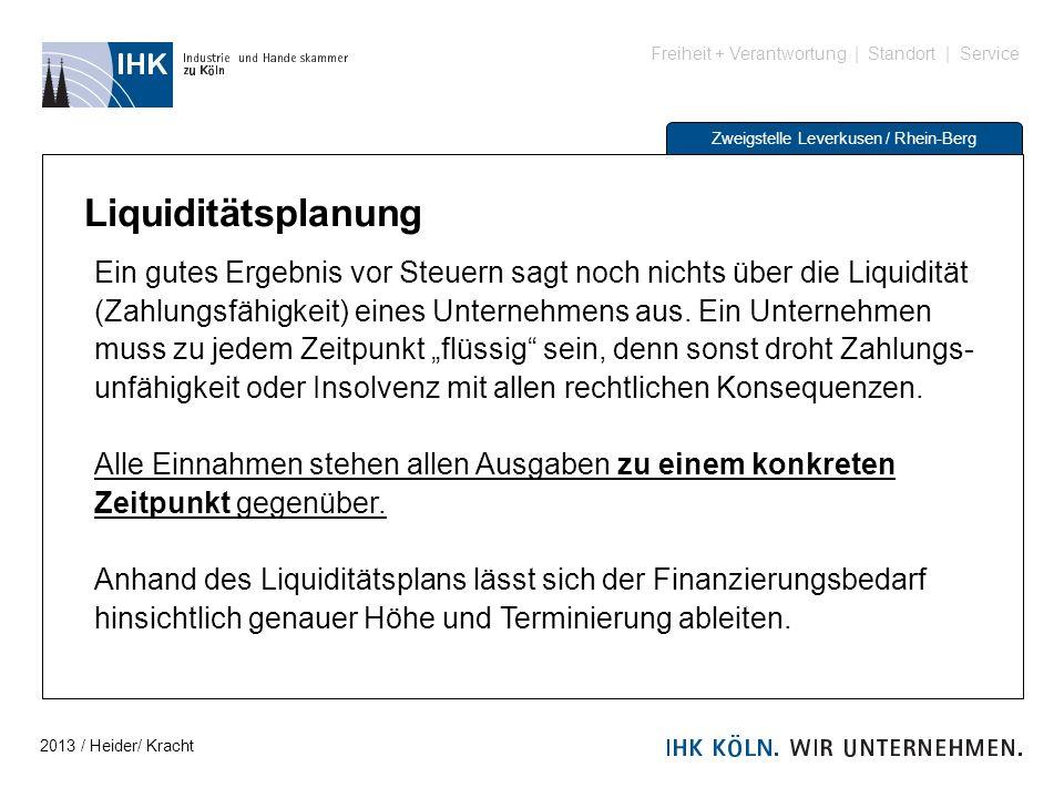 Freiheit + Verantwortung | Standort | Service Zweigstelle Leverkusen / Rhein-Berg Liquiditätsplanung Ein gutes Ergebnis vor Steuern sagt noch nichts ü