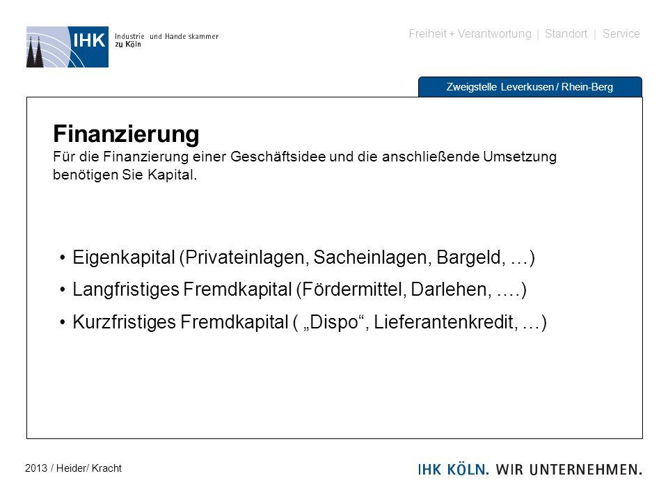 Freiheit + Verantwortung | Standort | Service Zweigstelle Leverkusen / Rhein-Berg Finanzierung Für die Finanzierung einer Geschäftsidee und die anschl