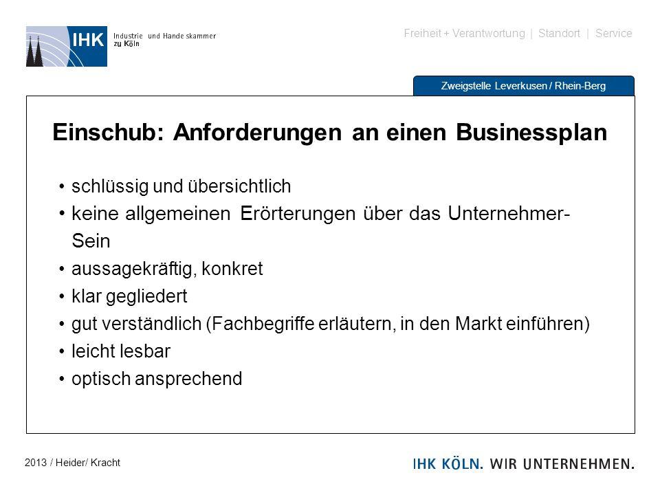 Freiheit + Verantwortung | Standort | Service Zweigstelle Leverkusen / Rhein-Berg Einschub: Anforderungen an einen Businessplan schlüssig und übersich