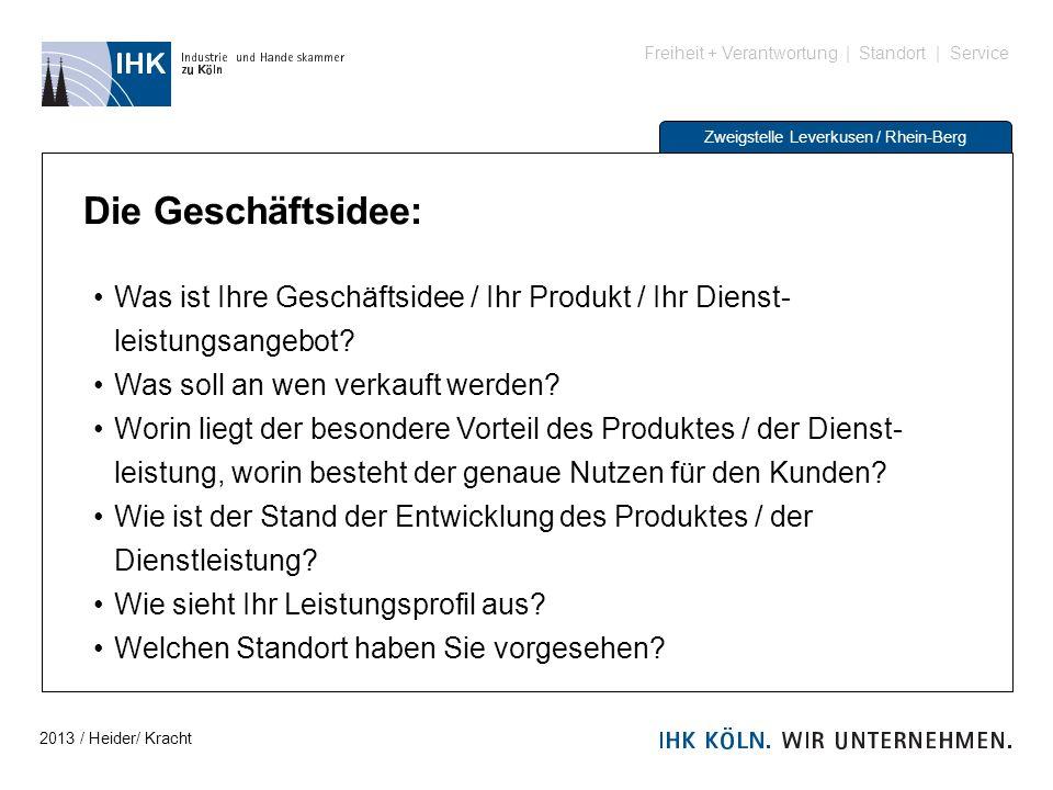 Freiheit + Verantwortung | Standort | Service Zweigstelle Leverkusen / Rhein-Berg Die Geschäftsidee: Was ist Ihre Geschäftsidee / Ihr Produkt / Ihr Di
