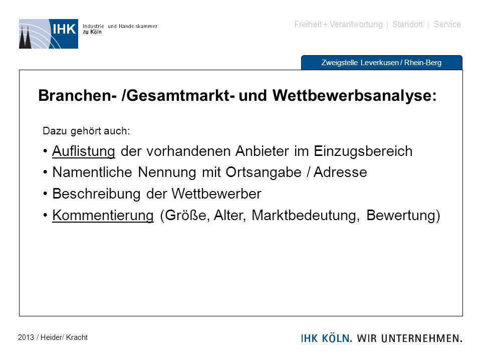 Freiheit + Verantwortung | Standort | Service Zweigstelle Leverkusen / Rhein-Berg Branchen- /Gesamtmarkt- und Wettbewerbsanalyse: Dazu gehört auch: Au