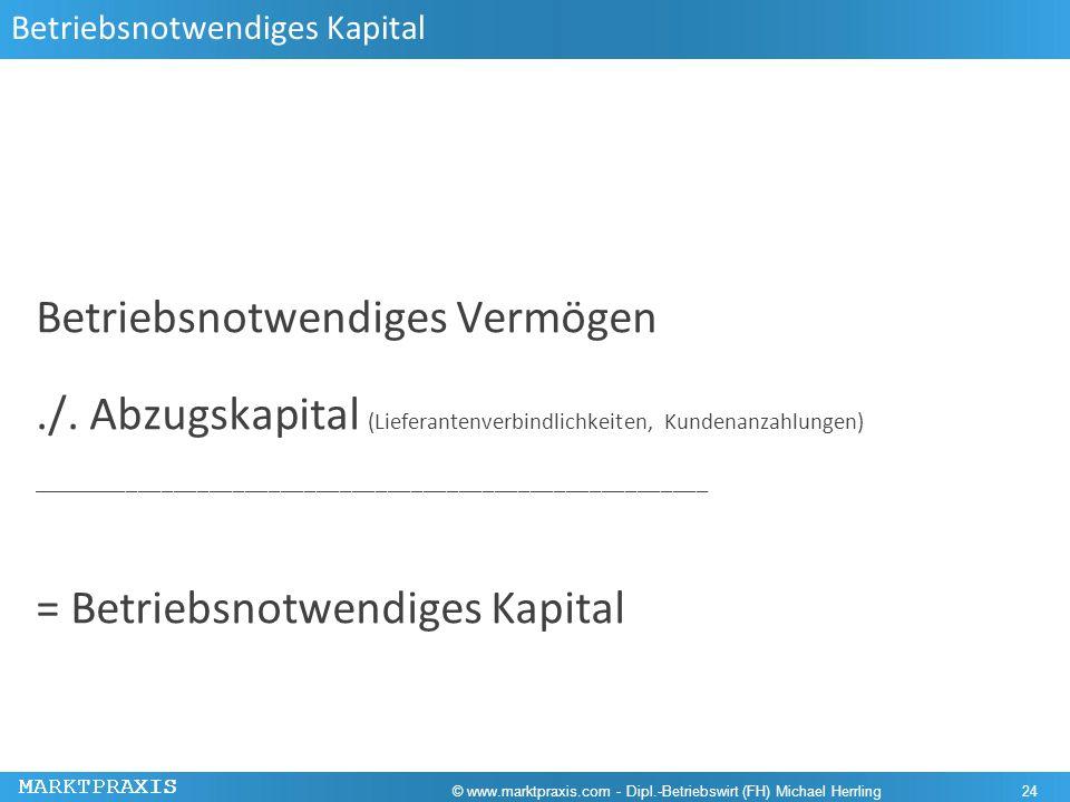 MARKTPRAXIS Betriebsnotwendiges Kapital Betriebsnotwendiges Vermögen./. Abzugskapital (Lieferantenverbindlichkeiten, Kundenanzahlungen) ______________