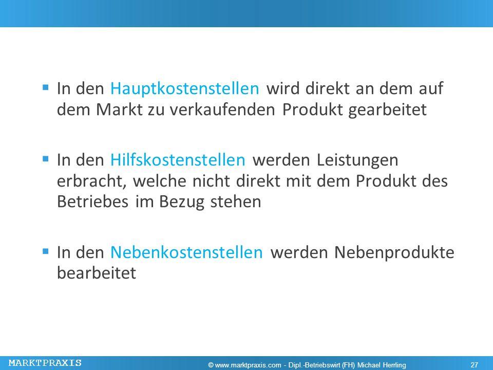 MARKTPRAXIS In den Hauptkostenstellen wird direkt an dem auf dem Markt zu verkaufenden Produkt gearbeitet In den Hilfskostenstellen werden Leistungen