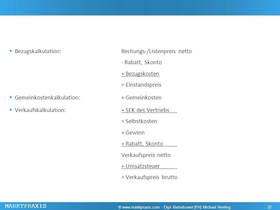 MARKTPRAXIS Bezugskalkulation: Rechungs-/Listenpreis netto - Rabatt, Skonto + Bezugskosten = Einstandspreis Gemeinkostenkalkulation:+ Gemeinkosten Ver