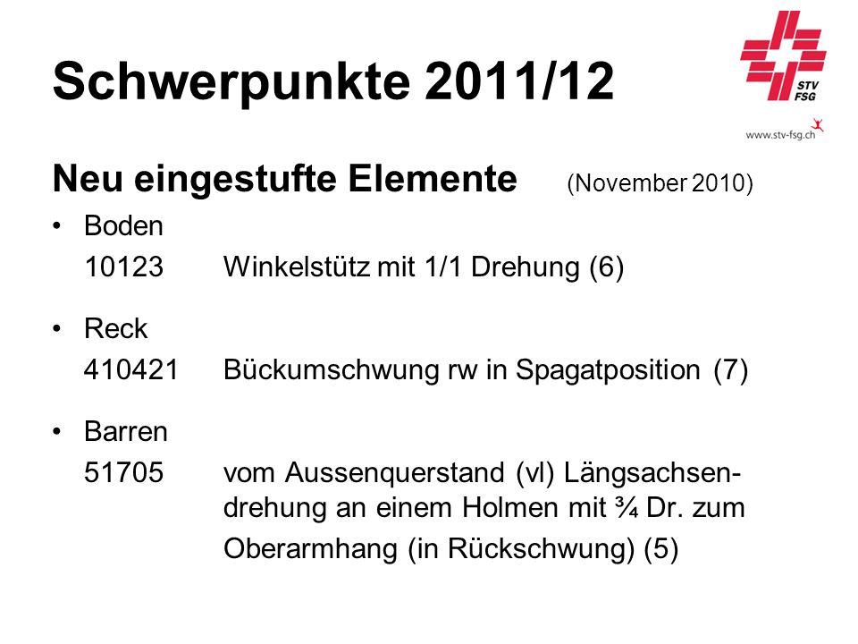 Schwerpunkte 2011/12 Neu eingestufte Elemente (November 2010) Boden 10123 Winkelstütz mit 1/1 Drehung (6) Reck 410421Bückumschwung rw in Spagatpositio