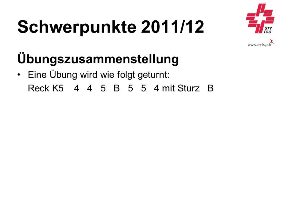 Schwerpunkte 2011/12 Übungszusammenstellung Eine Übung wird wie folgt geturnt: Reck K54 4 5 B 5 5 4 mit Sturz B