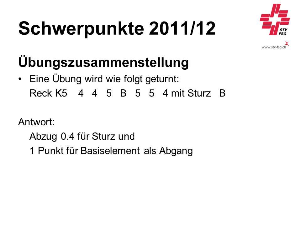 Schwerpunkte 2011/12 Übungszusammenstellung Eine Übung wird wie folgt geturnt: Reck K54 4 5 B 5 5 4 mit Sturz B Antwort: Abzug 0.4 für Sturz und 1 Pun