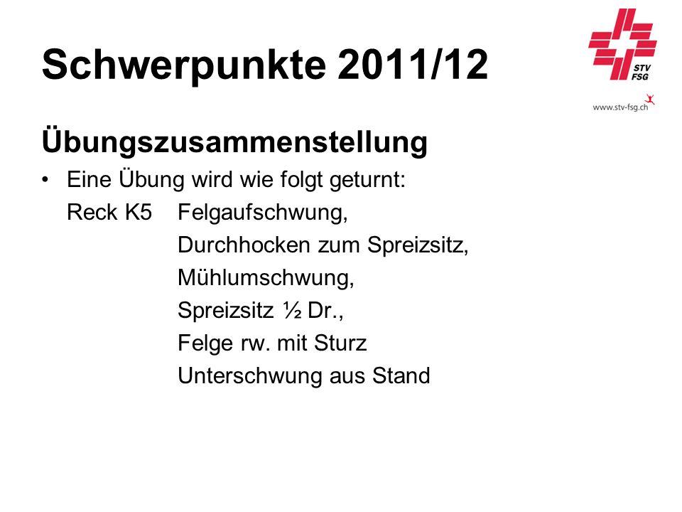Schwerpunkte 2011/12 Übungszusammenstellung Eine Übung wird wie folgt geturnt: Reck K5Felgaufschwung, Durchhocken zum Spreizsitz, Mühlumschwung, Sprei
