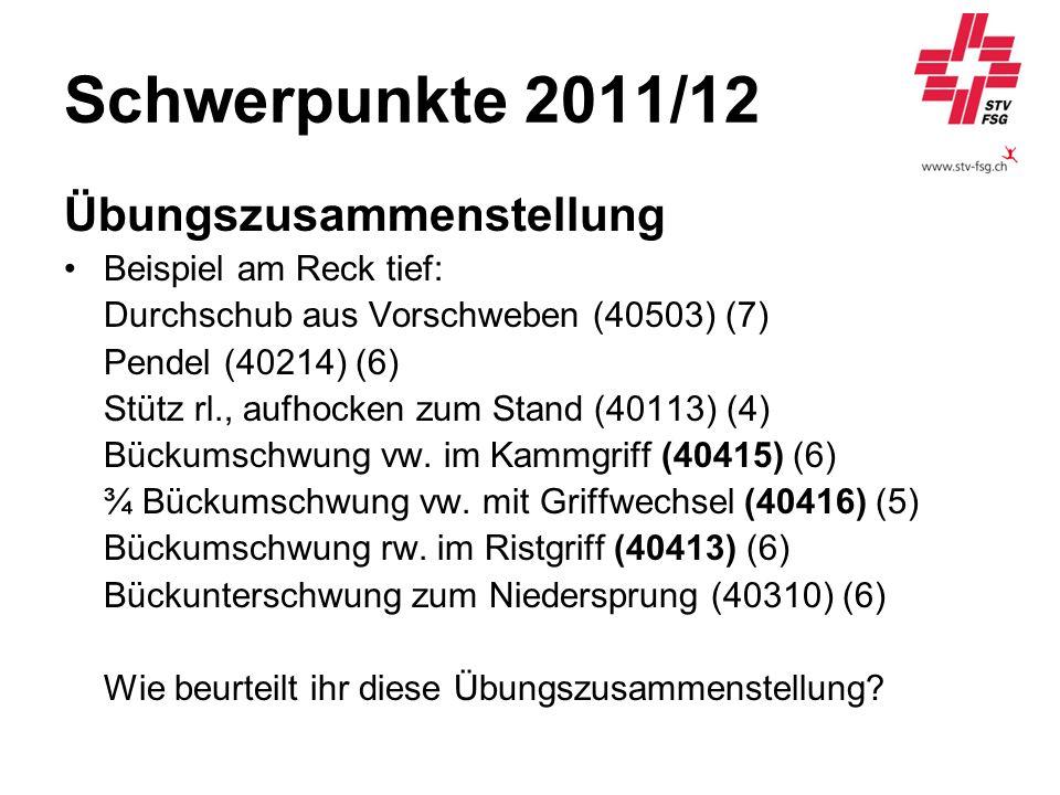 Schwerpunkte 2011/12 Übungszusammenstellung Beispiel am Reck tief: Durchschub aus Vorschweben (40503) (7) Pendel (40214) (6) Stütz rl., aufhocken zum
