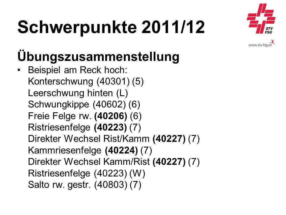 Schwerpunkte 2011/12 Übungszusammenstellung Beispiel am Reck hoch: Konterschwung (40301) (5) Leerschwung hinten (L) Schwungkippe (40602) (6) Freie Fel