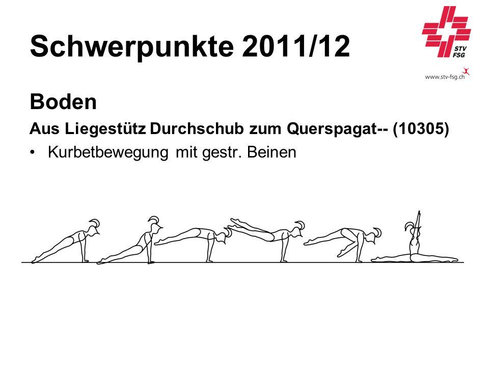 Schwerpunkte 2011/12 Boden Aus Liegestütz Durchschub zum Querspagat-- (10305) Kurbetbewegung mit gestr. Beinen