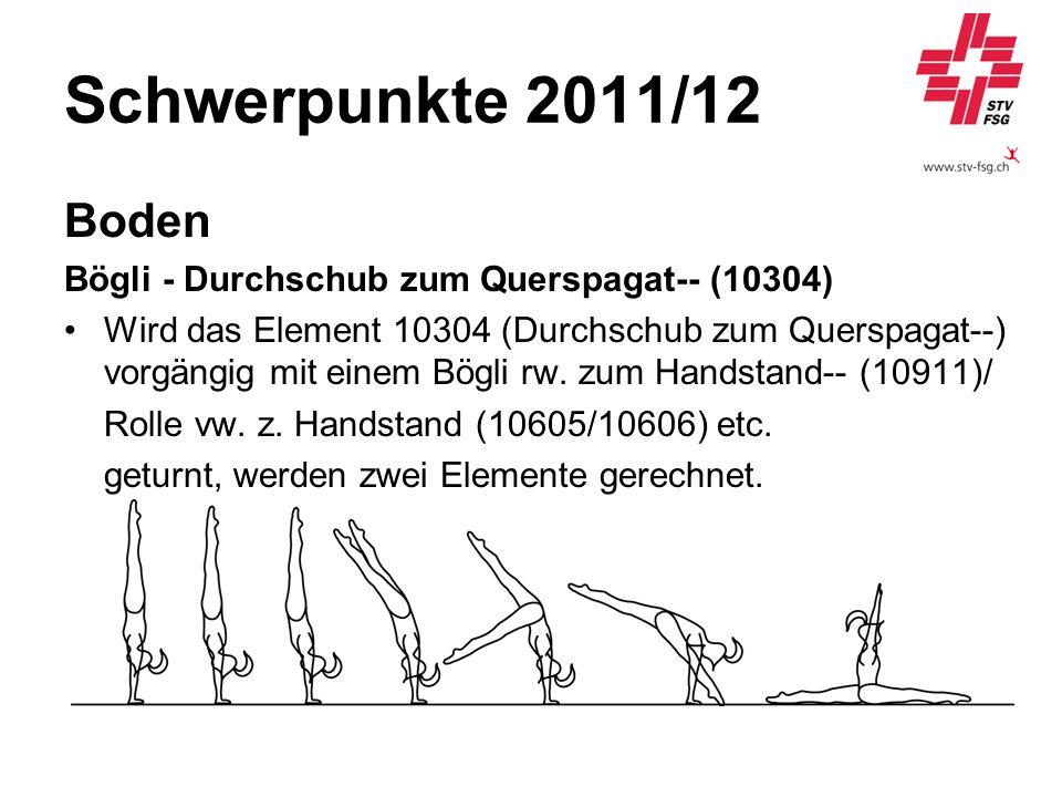 Schwerpunkte 2011/12 Boden Bögli - Durchschub zum Querspagat-- (10304) Wird das Element 10304 (Durchschub zum Querspagat--) vorgängig mit einem Bögli