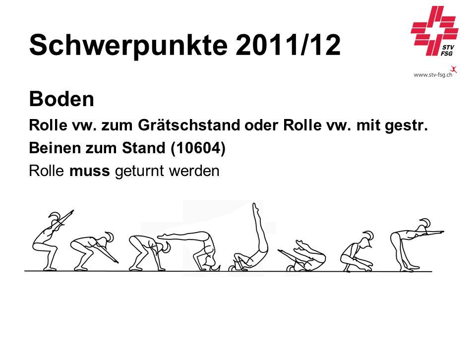 Schwerpunkte 2011/12 Boden Rolle vw. zum Grätschstand oder Rolle vw. mit gestr. Beinen zum Stand (10604) Rolle muss geturnt werden