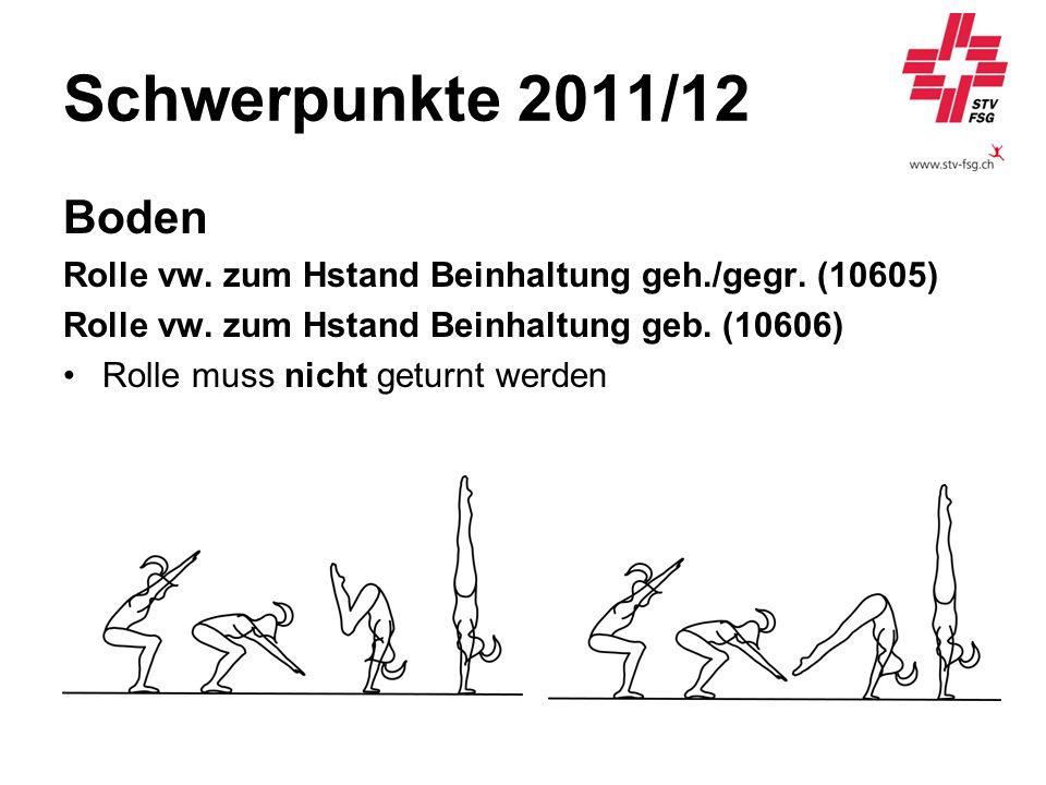 Schwerpunkte 2011/12 Boden Rolle vw. zum Hstand Beinhaltung geh./gegr. (10605) Rolle vw. zum Hstand Beinhaltung geb. (10606) Rolle muss nicht geturnt