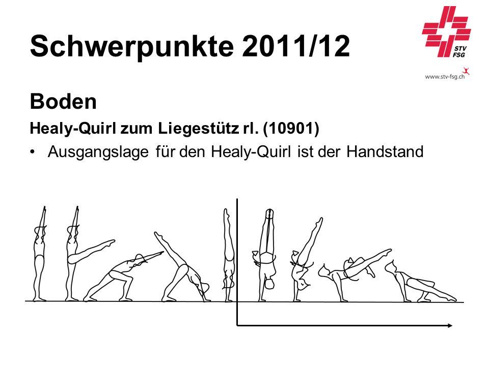 Schwerpunkte 2011/12 Boden Healy-Quirl zum Liegestütz rl. (10901) Ausgangslage für den Healy-Quirl ist der Handstand