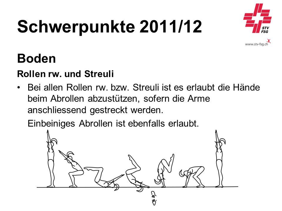 Schwerpunkte 2011/12 Boden Rollen rw. und Streuli Bei allen Rollen rw. bzw. Streuli ist es erlaubt die Hände beim Abrollen abzustützen, sofern die Arm