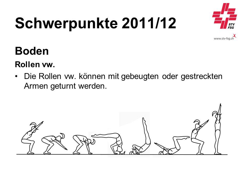 Schwerpunkte 2011/12 Boden Rollen vw. Die Rollen vw. können mit gebeugten oder gestreckten Armen geturnt werden.