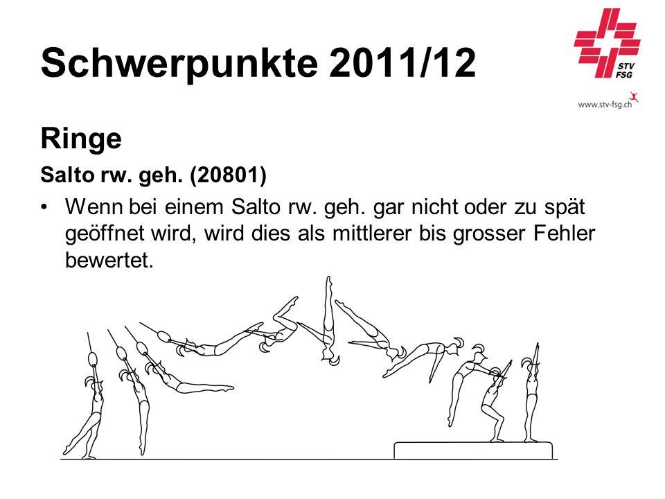 Schwerpunkte 2011/12 Ringe Salto rw. geh. (20801) Wenn bei einem Salto rw. geh. gar nicht oder zu spät geöffnet wird, wird dies als mittlerer bis gros