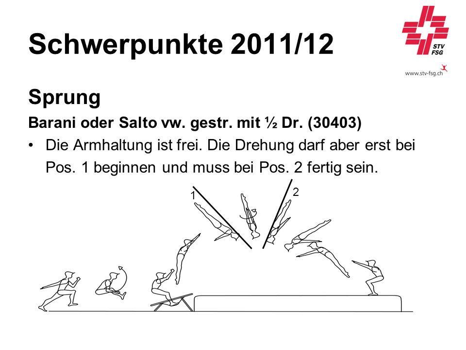 Schwerpunkte 2011/12 Sprung Barani oder Salto vw. gestr. mit ½ Dr. (30403) Die Armhaltung ist frei. Die Drehung darf aber erst bei Pos. 1 beginnen und