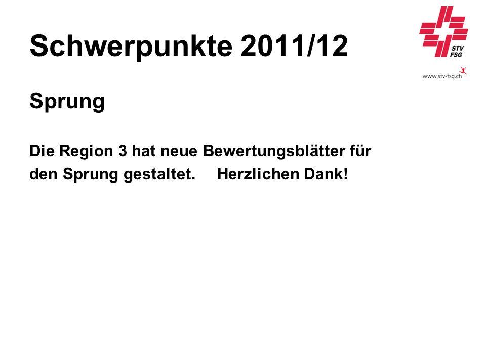 Schwerpunkte 2011/12 Sprung Die Region 3 hat neue Bewertungsblätter für den Sprung gestaltet. Herzlichen Dank!
