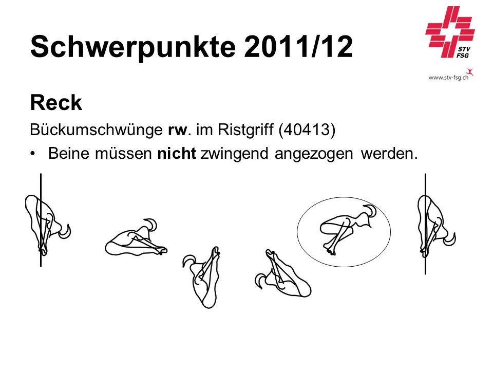 Schwerpunkte 2011/12 Reck Bückumschwünge rw. im Ristgriff (40413) Beine müssen nicht zwingend angezogen werden.
