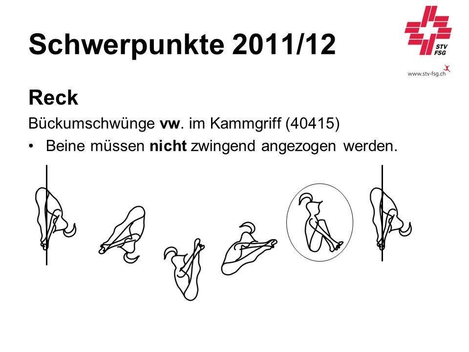 Schwerpunkte 2011/12 Reck Bückumschwünge vw. im Kammgriff (40415) Beine müssen nicht zwingend angezogen werden.