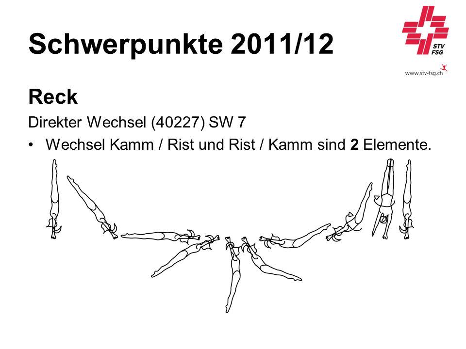 Schwerpunkte 2011/12 Reck Direkter Wechsel (40227) SW 7 Wechsel Kamm / Rist und Rist / Kamm sind 2 Elemente.