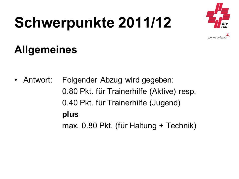 Schwerpunkte 2011/12 Allgemeines Antwort:Folgender Abzug wird gegeben: 0.80 Pkt. für Trainerhilfe (Aktive) resp. 0.40 Pkt. für Trainerhilfe (Jugend) p