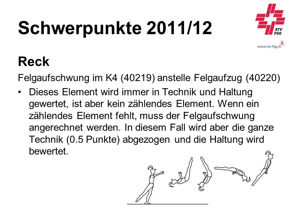 Schwerpunkte 2011/12 Reck Felgaufschwung im K4 (40219) anstelle Felgaufzug (40220) Dieses Element wird immer in Technik und Haltung gewertet, ist aber