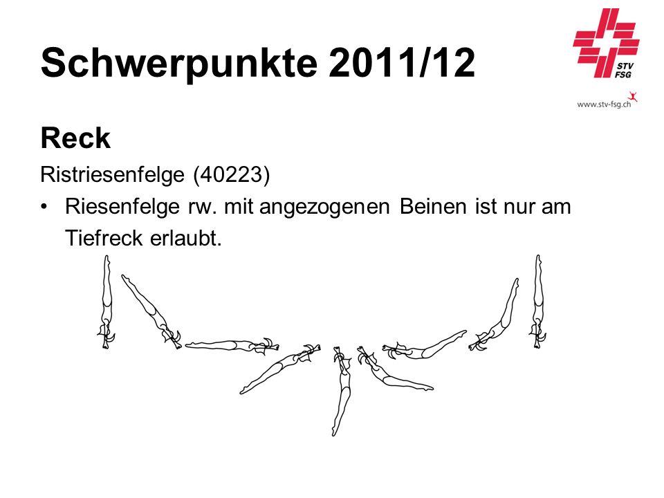 Schwerpunkte 2011/12 Reck Ristriesenfelge (40223) Riesenfelge rw. mit angezogenen Beinen ist nur am Tiefreck erlaubt.