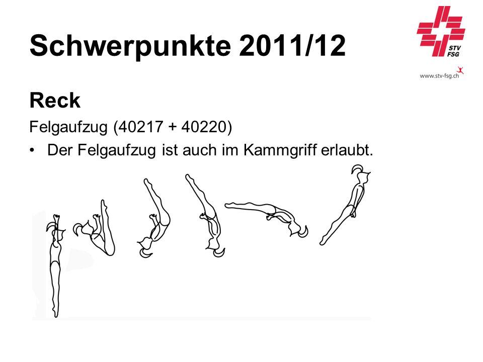 Schwerpunkte 2011/12 Reck Felgaufzug (40217 + 40220) Der Felgaufzug ist auch im Kammgriff erlaubt.