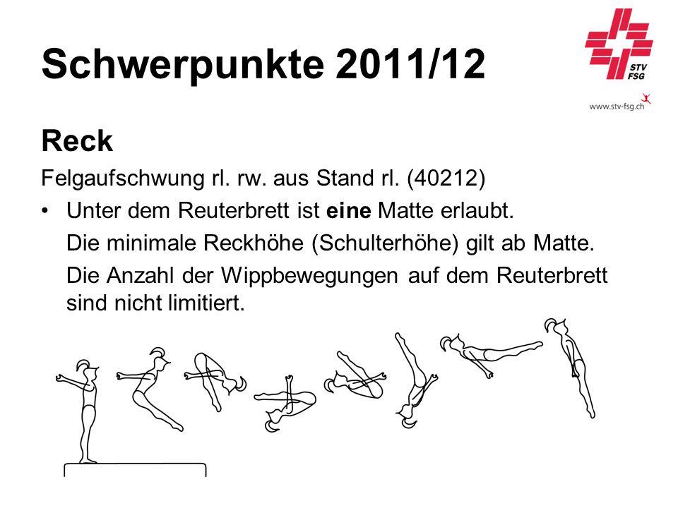 Schwerpunkte 2011/12 Reck Felgaufschwung rl. rw. aus Stand rl. (40212) Unter dem Reuterbrett ist eine Matte erlaubt. Die minimale Reckhöhe (Schulterhö