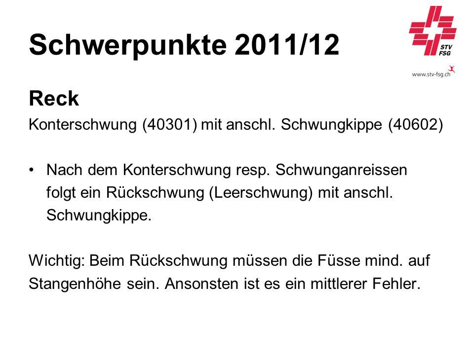 Schwerpunkte 2011/12 Reck Konterschwung (40301) mit anschl. Schwungkippe (40602) Nach dem Konterschwung resp. Schwunganreissen folgt ein Rückschwung (
